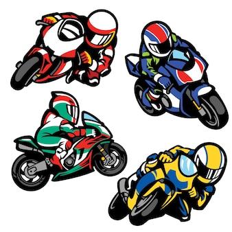 漫画スタイルのスポーツバイクのセット