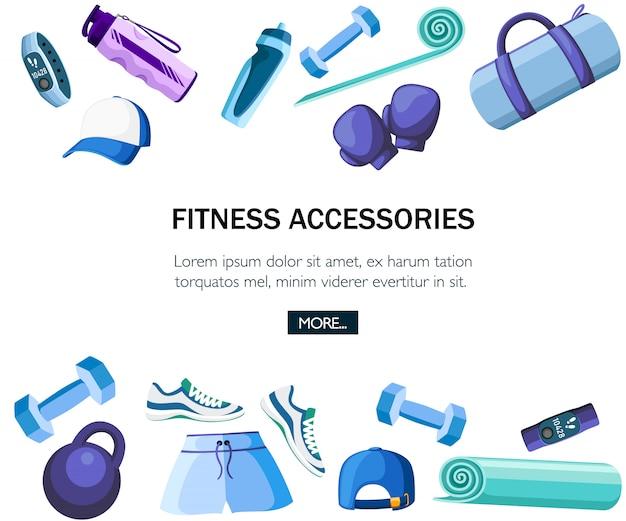 Набор спортивных принадлежностей и одежды. коллекция синих и фиолетовых цветов. иконки для занятий в спортзале. иллюстрация на белом фоне. место для текста