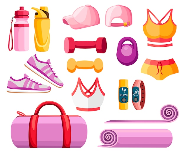 Набор спортивных принадлежностей и одежды. женские наряды. коллекция оранжевого и розового цвета. иконки для занятий в спортзале. иллюстрация на белом фоне