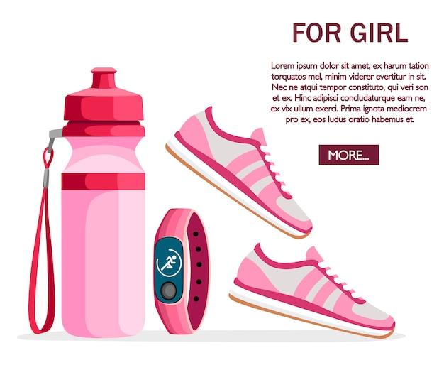 Набор спортивных принадлежностей и одежды. женские наряды. коллекция розового цвета. иконки для занятий в спортзале. иллюстрация на белом фоне. место для текста