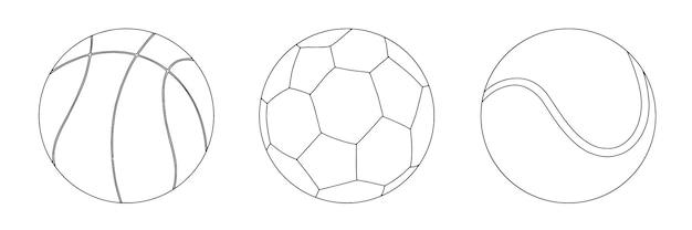 Набор спортивных мячей для игры в баскетбол, футбол, теннис, линейный эскиз каракули