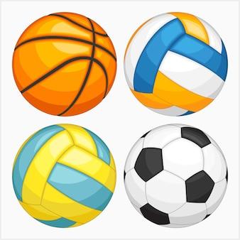 Набор спортивных мячей векторные иллюстрации