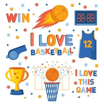 Набор спортивных иконок. изолированные спортивные баскетбольные символы и аксессуары
