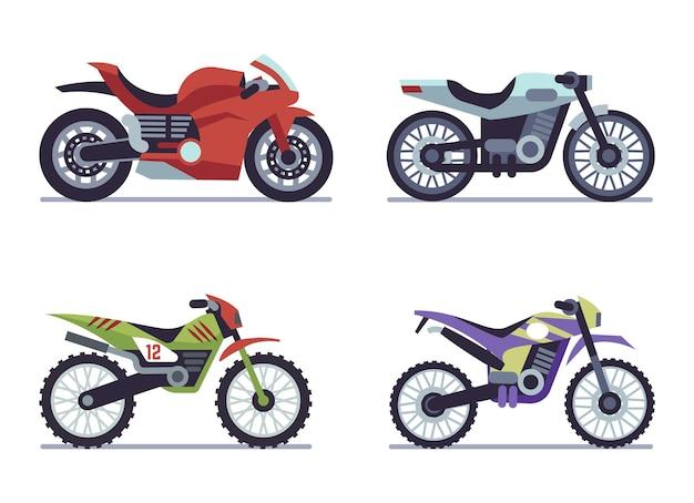 스포츠 오토바이 세트입니다. 오토바이 경주, 도로 경주를 위한 수집 가능한 차량, 속도 경주 현대 차량 여행 및 스포츠 평면 절연 벡터 모터 운송 컬렉션