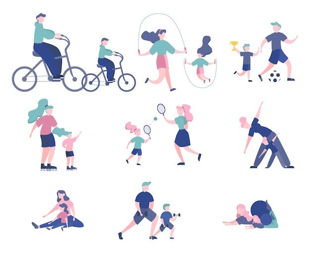 Набор спортивных людей со своими детьми. родители занимаются разными видами спорта - играют в футбол, занимаются йогой, катаются на коньках. гимнастика и тренировки. иллюстрация
