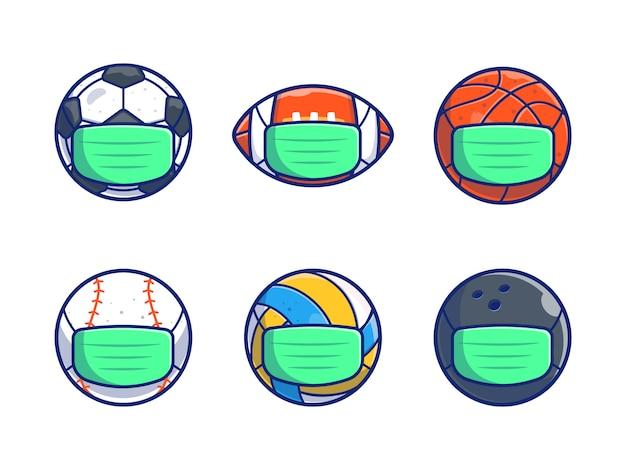 Набор спортивного ношения медицинской маски иллюстрации. спортивный мяч мультфильм белый изолированный