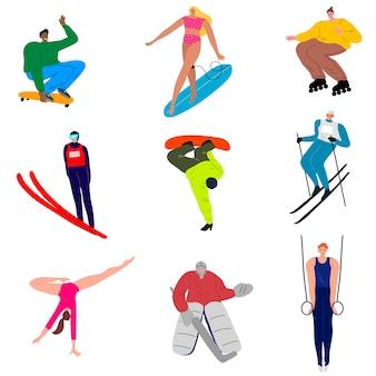 さまざまな種類のスポーツ活動を行うスポーツマンのセット。