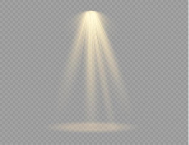 透明な背景に分離されたスポットライトのセット。光源、コンサート照明、舞台照明。金色の光線による光の効果。デザイン用のシャイン垂直シアタープロジェクタービームテンプレート。ベクター。