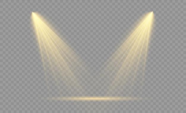 스포트 라이트 투명 한 배경에 고립의 집합입니다. 조명 효과입니다. 홍수 광선, 웹 디자인 및 프로젝션 스튜디오 조명에 대 한 조명 된 스포트 라이트 빔 콘서트 클럽 쇼 장면 조명.