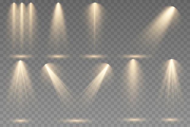 透明な背景にスポットライトのセット