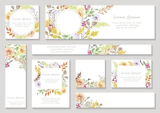 Набор весенних цветочных рамок с пространством для текста изолированы