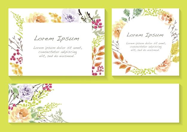 Набор весенних цветочных рамок с пространством для текста изолированы Бесплатные векторы