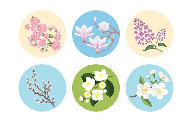 Набор весенних цветущих ветвей