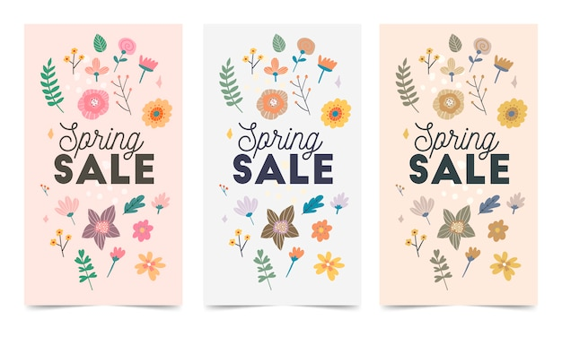 Instagram投稿、ストーリーの春の花のベクトルテンプレートのセット