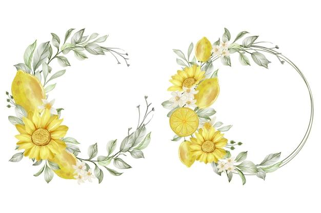 春のレモンの花の花輪水彩イラストのセット