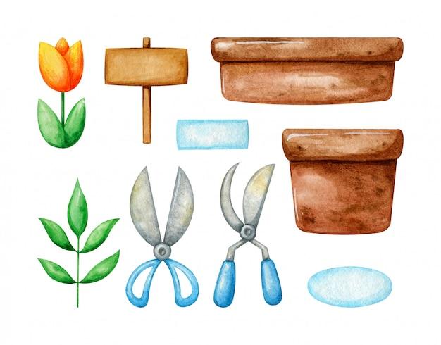 봄 식물과 정원 도구 집합입니다. 컬렉션에는 화분, 가위, 튤립 및 식물이 포함됩니다. 수채화 봄 원예.