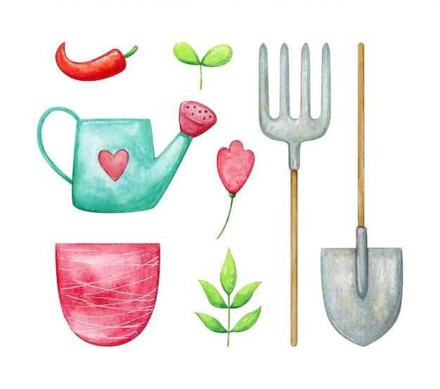 봄 식물과 정원 도구 집합입니다. 컬렉션에는 심장, 삽, 건초 포크, 분홍 냄비, 새싹, 꽃과 함께 청록색 물을 수 있습니다. 수채화 봄 원예.