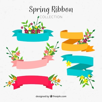 Set of spring ribbons with flowers and different colors