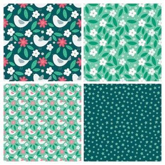 シンプルなスタイルで鳥や花の要素と春のシームレスなパターンのセット