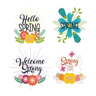 春の印字バッジのセット