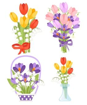 다른 꽃으로 봄 꽃 꽃다발의 집합입니다. convallaria majalis와 빨간색과 노란색 튤립, 보라색 crocus와 핑크 튤립입니다. 평면 그림 흰색 배경에 고립입니다.