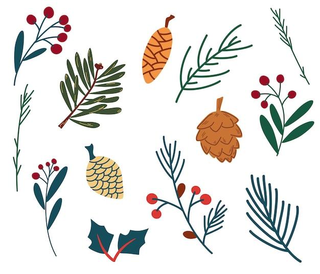 Набор еловых веток ягод и шишек. озимые растения. веточки листвы рождества разветвляют красные ягоды. сосна, ель, еловые ветки и шишки, рябина, ягоды шиповника. ботанические элементы природы. вектор
