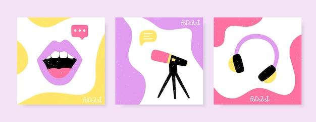 Набор квадратных баннеров для подкастов. студийный микрофон, наушники и женские губы. векторный дизайн идеально подходит для блога подкаста.