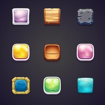 ウェブデザインとコンピューターゲームのためのさまざまな素材の四角いボタンのセット