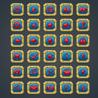 웹 인터페이스 및 컴퓨터 게임을위한 돌 요소와 기호가있는 사각형 버튼 세트