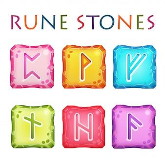Набор квадратных красочных рунических камней