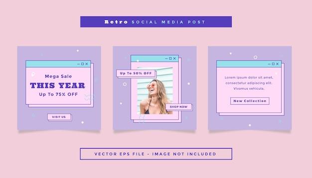 ソーシャルメディアのオンラインショッピングをテーマにした紫ピンク色の正方形のチラシ投稿のセット。
