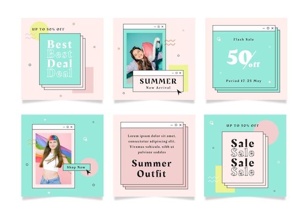 ソーシャルメディアの夏のセールをテーマにした正方形のチラシポストのセット