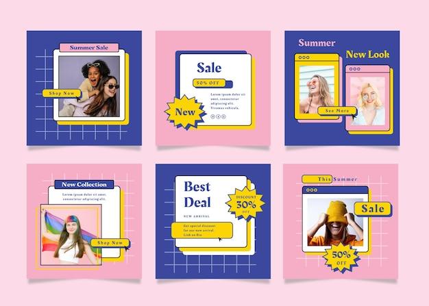 Набор квадратных флаеров с темой летней распродажи для социальных сетей
