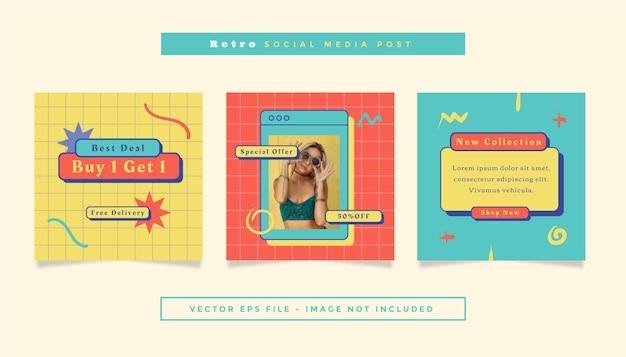 ソーシャルメディアのオンラインショッピングをテーマにした黄色と赤のティール色の正方形のチラシ投稿のセット。