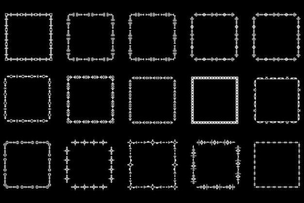 정사각형 프레임 및 모노그램 세트입니다. 컬렉션 장식 사각형 테두리입니다. 추상 낙서입니다. 낙서 로고 디자인 요소입니다. 템플릿 레이블, 스티커, 카드. 벡터 일러스트 레이 션.