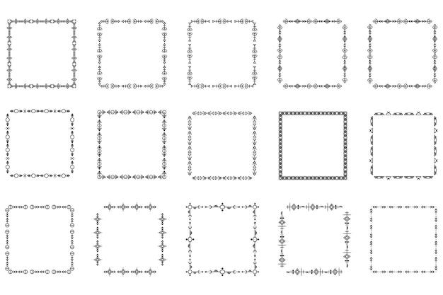正方形のフレームとモノグラムのセット。コレクションの装飾的な正方形の境界線。抽象的な落書き。ロゴデザイン要素を落書き。テンプレートラベル、ステッカー、カード。ベクトルイラスト。