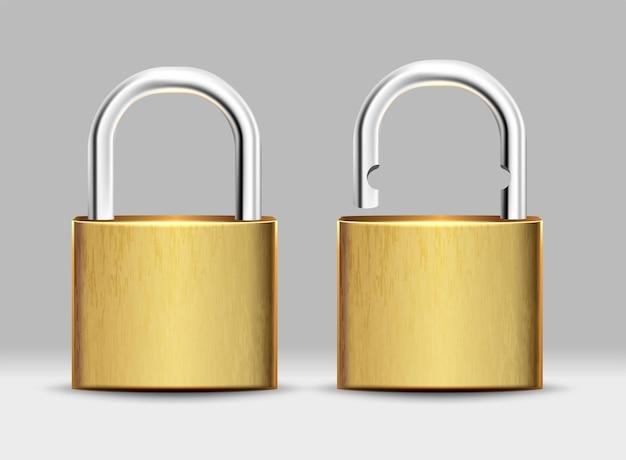 正方形の金色の南京錠のセット