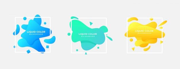 정사각형 액체 색 그라데이션 배경 세트