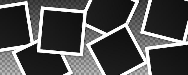 正方形のフォトフレームのセット。透明に分離されたリアルなフレームのコラージュ。