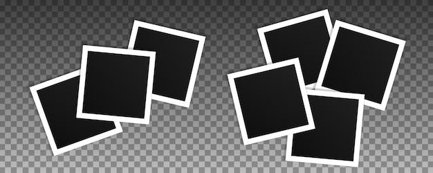 正方形のフォトフレームのセット。リアルなフレームのコラージュ