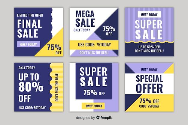 Набор квадратных продаж дизайн баннера для instagram