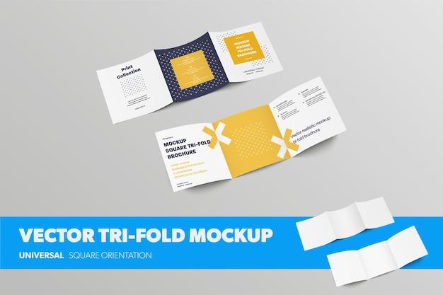 Набор квадратных векторных складок втрое, брошюр с открытыми стандартными рулонами, виды спереди и сзади, с реалистичными тенями, для презентации дизайна. макет пустой белый бизнес-буклет, изолированные на фоне
