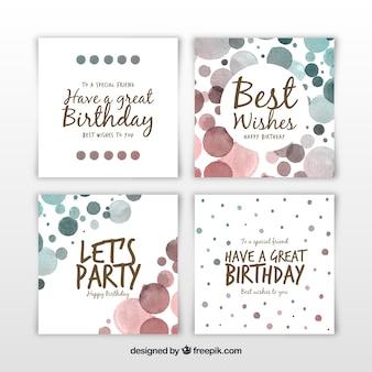 正方形の水彩の誕生日カードのセット