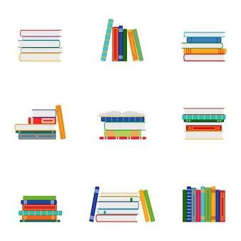 Набор стопок книг, групп книг, векторные иллюстрации