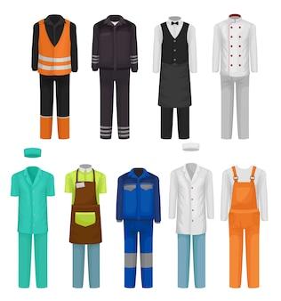 직원 의류 세트. 로드맨, 경비, 병원 및 식당 노동자의 유니폼. 작업복 테마