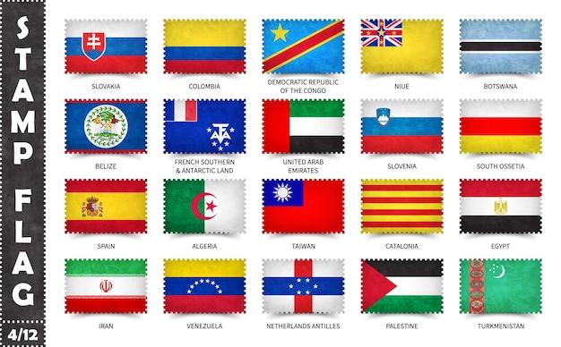 공식 국가 플래그와 우표 세트