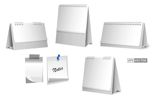 スタンディングペーパーデスクカレンダーまたは現実的な空白のスパイラルテーブルカレンダーの概念epsベクトルのセット