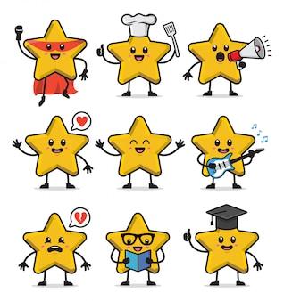 星のキャラクターデザインのセット