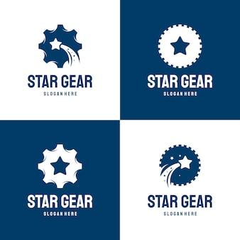 스타 기어 로고 디자인 개념 벡터 세트, 밝은 정비사 로고 템플릿, 최고의 수리 로고 기호 컬렉션