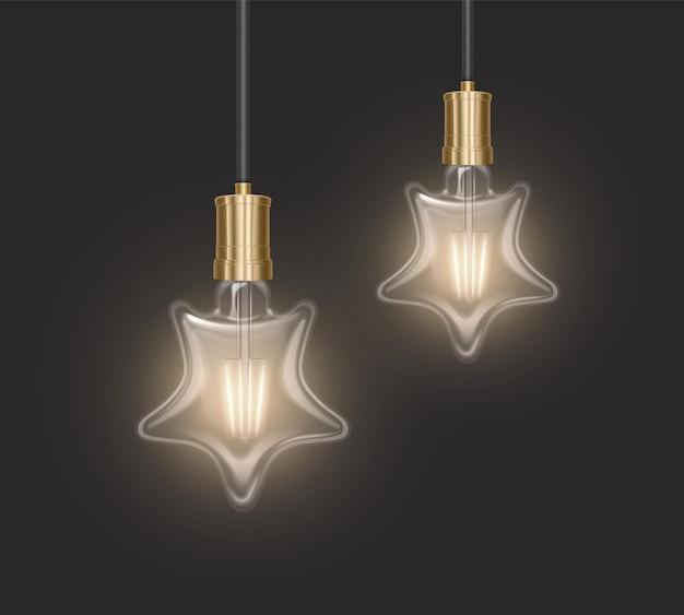 Набор лампочек в форме звезды в стиле ретро на темной подложке, светящиеся лампочки в реалистичном стиле